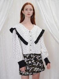 sister jane GRANDMA'S HOUSE Silverwear Ruffle Blouse in White and Black – spot print oversized collar blouses