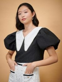 sister jane DREAM Valley Sorrel Tie Back Top in Black and White – cropped puff sleeve oversized collar tops – large collars