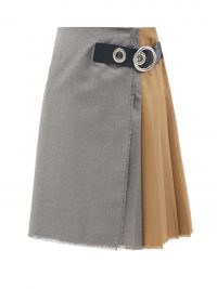 MARNI Asymmetric pleated wool-hopsack skirt / colour block buckled skirts