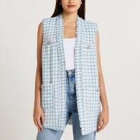 RIVER ISLAND Blue boucle sleeveless cardigan / longline checked frayed edge cardigans / womens textured knitwear