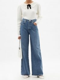 MIU MIU Crystal-embellished wide-leg jeans ~ womens designer denim