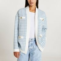 RIVER ISLAND Blue dogtooth boucle cardigan ~ womens checked houndstooth cardigans ~ textured tweed style fashion