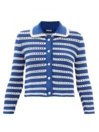 MIU MIU Eyelet-stripe garter-stitched wool cardigan ~ womens retro knitwear ~ women's blue and white stripe vintage inspired cardigans