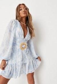 Missguided blue floral print plunge balloon sleeve mini dress – feminine frill hem dresses – plunging V neckline fashion