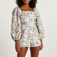 RIVER ISLAND Blue floral structured playsuit ~ square neck balloon sleeve playsuits ~ women's on trend party fashion
