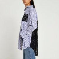 RIVER ISLAND Blue lace detail shirt ~ womens semi sheer back panel dip hem shirts