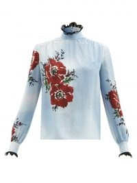 RODARTE Back-bow floral-print silk blouse ~ pale blue lace trimmed blouses ~ high Victoriana neckline tops ~ MatchesFashion womens clothing
