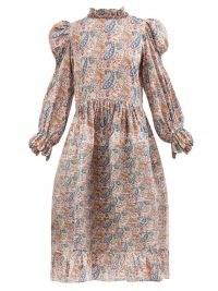 HORROR VACUI Claire paisley-print cotton-poplin dress | vintage inspired high neck ruffle trim dresses | voluminous fashion