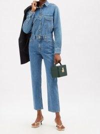BLAZÉ MILANO Nariida Paso straight-cut jeans ~ womens blue denim high rise waist crop hem jeans