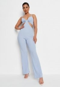 MISSGUIDED blue rib cut out cami jumpsuit – strappy going out jumpsuits – glamorous evening look