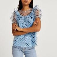 River Island Blue ruffled puff sleeve mesh top | romantic style semi sheer tops