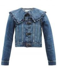GANNI Ruffled-collar denim jacket ~ feminine vintage style jackets