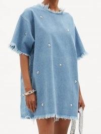 MARQUES'ALMEIDA Studded recycled-denim T-shirt dress ~ stud embellished frayed edge tee dresses