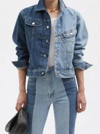 E.L.V. DENIM The Twin two-tone denim jacket ~ womens tonal blue jackets ~ women's spliced casual outerwear