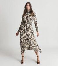 REISS BOBBY FLORAL PRINTED MIDI DRESS NEUTRAL ~ long sleeve high neck tie-waist dresses