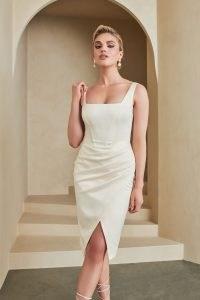 Lavish Alice bonded satin corset midi dress in cream | sleevless luxe style square neck fitted bodice evening dresses