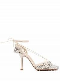Bottega Veneta crystal-embellished tie-ankle sandals – luxe strappy ankle tie high heel shoes – glamorous square toe sandal
