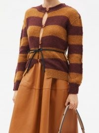 MARNI Belted striped mohair-blend cardigan ~ womens chic tan and chocolate brown cardigans ~ women's designer knitwear