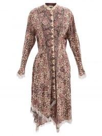 JW ANDERSON Crystal-embellished floral-print dress ~ luxe asymmetric hem shirt dresses