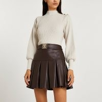 River Island Brown faux leather pleated mini skirt | luxe style tennis skirts