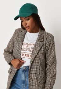 MISSGUIDED brown houndstooth check oversized blazer – womens checked button front blazers – women's fashionable jackets
