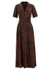 STAUD Millie zebra-print maxi shirt dress – brown and black short sleeve animal stripe print dresses