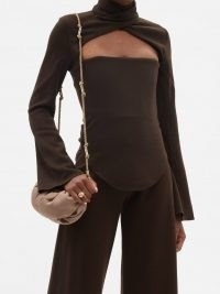16ARLINGTON Odessa brown cutout wool-blend top – chic cut out bodice fluted long sleeve tops