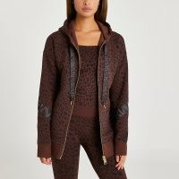 River Island Brown RI Active leopard print zip hoodie – womens front zipper logo print hoodies