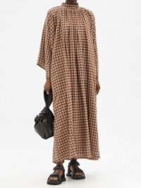 TOOGOOD The Falconer wool-blend gingham dress / brown checked relaxed fit high neck dresses / wide sleeves with buttoned cuffs / flowing maxi style