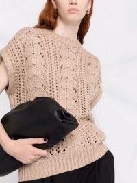 Brunello Cucinelli pointelle-knit sleeveless vest in oatmeal beige – womens designer tank tops – women's cashmere blend vests