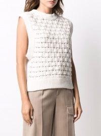 byTiMo cotton-blend knit vest – white knit tile-detail tank tops – womens knitted tanks – women's sleeveless sweater vests