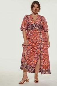 Anthropologie Floral Maxi Dress Red Motif – printed puff sleeve V-neck dresses – feminine plus sized fashion