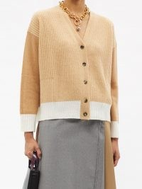 MARNI Contrasting ribbed cashmere cardigan in camel / chic colour block cardigans / neutral knitwear