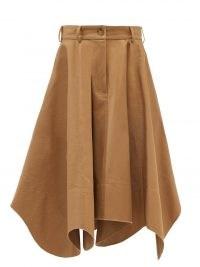 JW ANDERSON Curved-hem cotton cavalry-twill midi skirt – brown raw hem skirts