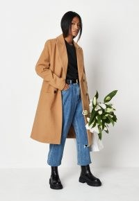 MISSGUIDED camel slim double breasted longline formal coat ~ light brown coats ~ womens fashionable autumn outerwear