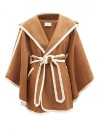 ZIMMERMANN Tempo hooded wool wrap coat in camel ~ brown tie waist coats ~ cape inspired outerwear