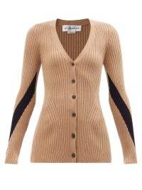 VICTORIA BECKHAM V-neck ribbed wool cardigan in camel ~ light brown designer cardigans ~ neutral knitwear