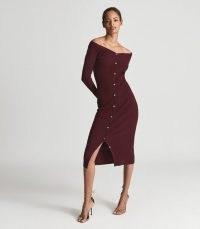 CAMILLE KNITTED BUTTON THROUGH MIDI DRESS BURGUNDY ~ chic bardot neckline bodycon ~ effortless style button through dresses ~ dark red autumn fashion