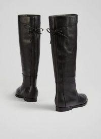 L.K. Bennett CASSANDRA BLACK SOFT CALF LEATHER KNEE BOOTS | womens chic winter footwear | women's tie detail boots