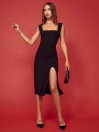 Reformation Cassi Dress in Black | thigh high slit hem LBD | chic square neckline | split hemline dresses