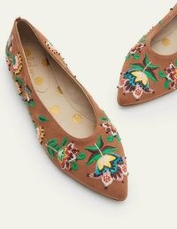 Boden Catriona Ballerinas Tan Embroidered / light brown beaded ballerina pumps / floral pointed toe ballet flats / womens embellished flat shoes