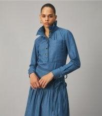 TORY BURCH CHAMBRAY RUFFLE NECK BLOUSE ~ ruffled high neck blouses ~ womens lightweight denim fashion