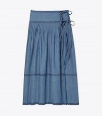 TORY BURCH CHAMBRAY TIERED SKIRT ~ lightweight denim wrap skirts
