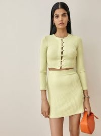 Reformation Chantel Two Piece in Limon | chic fashion sets | rib knit co ords | skirt and crop top co-ord