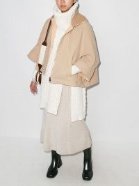 Chloé high-neck zipped cape in Nomad Beige ~ chic cape inspired jackets