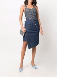 Christian Dior 2000s pre-owned asymmetric denim skirt   womens designer skirts   asymmetrical fashion designs
