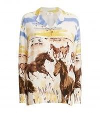 CLAUDIE PIERLOT Silk Horse Print Shirt / women's animal print shirts / painted prints / horses on fashion