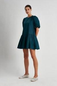 CAMILLA AND MARC Coba Mini Dress in Bottle Green ~ balloon sleeve tiered hem dresses ~ voluminous cotton fashion