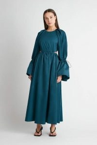CAMILLA AND MARC Coba Dress in Bottle Green ~ voluminous silhouette cotton dresses ~ cut out fashion