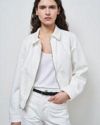 NILI LOTAN CODY DENIM JACKET Cream Wash   womens casual front zip up jackets